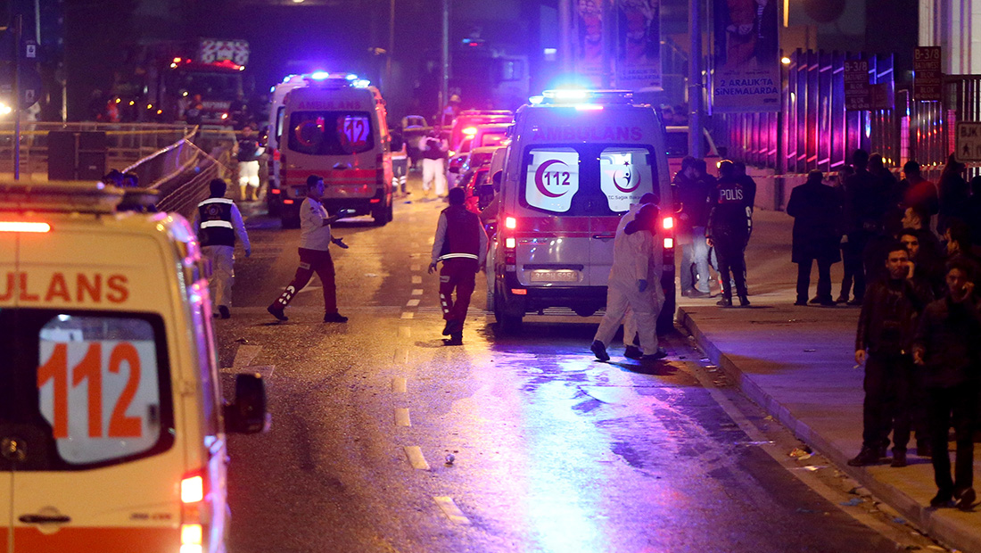 ISTANBUL, TURKEY - DECEMBER 10: Ambulances arrive at the scene after explosions near the Besiktas Vodaphone Arena on December 10, 2016 in Istanbul, Turkey. According to reports, at least 13 people were killed after explosions believed to have been targeting riot police were set off near to the Besiktas Vodaphone Arena. (Photo by Getty Images)