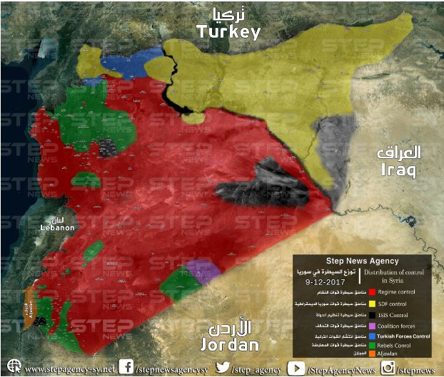 map showing developments of control in the whole of syria until the date 09 12 2017