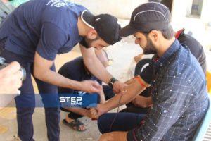 حملة تبرع بالدم في ريف حلب الغربي للمصابين جراء القصف على المنطقة
