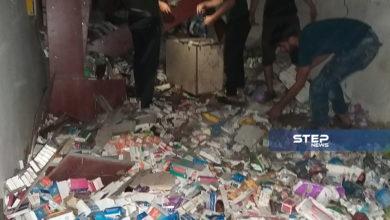 الصور الأولية لانفجار عبوة ناسفة داخل صيدلية بريف حلب الغربي