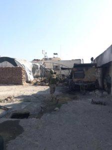 صور تُظهر آثار الدمار والحرائق في نقطة المراقبة التركية في قرية شير مغار غربي حماة بعد استهدافها من قبل قوات النظام بالقذائف يوم أمس.