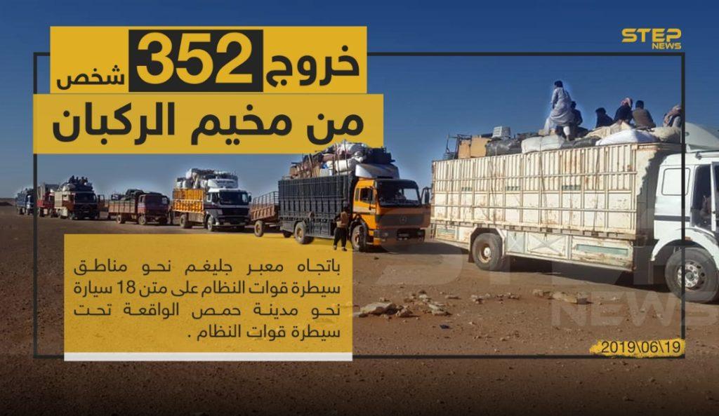 خروج القافلة التاسعة من مخيم الركبان باتجاه مناطق سيطرة نظام الأسد