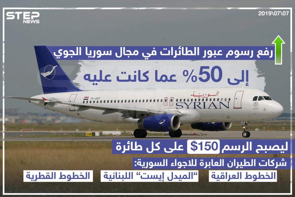 رفع رسوم عبور الطائرات في مجال سوريا الجوي إلى 50% عم كانت عليه