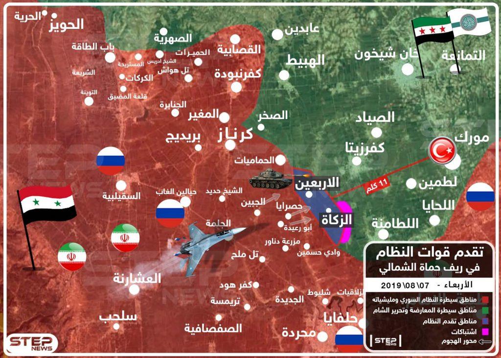 خريطة تُظهر تقدم قوات النظام في ريف حماة الشمالي