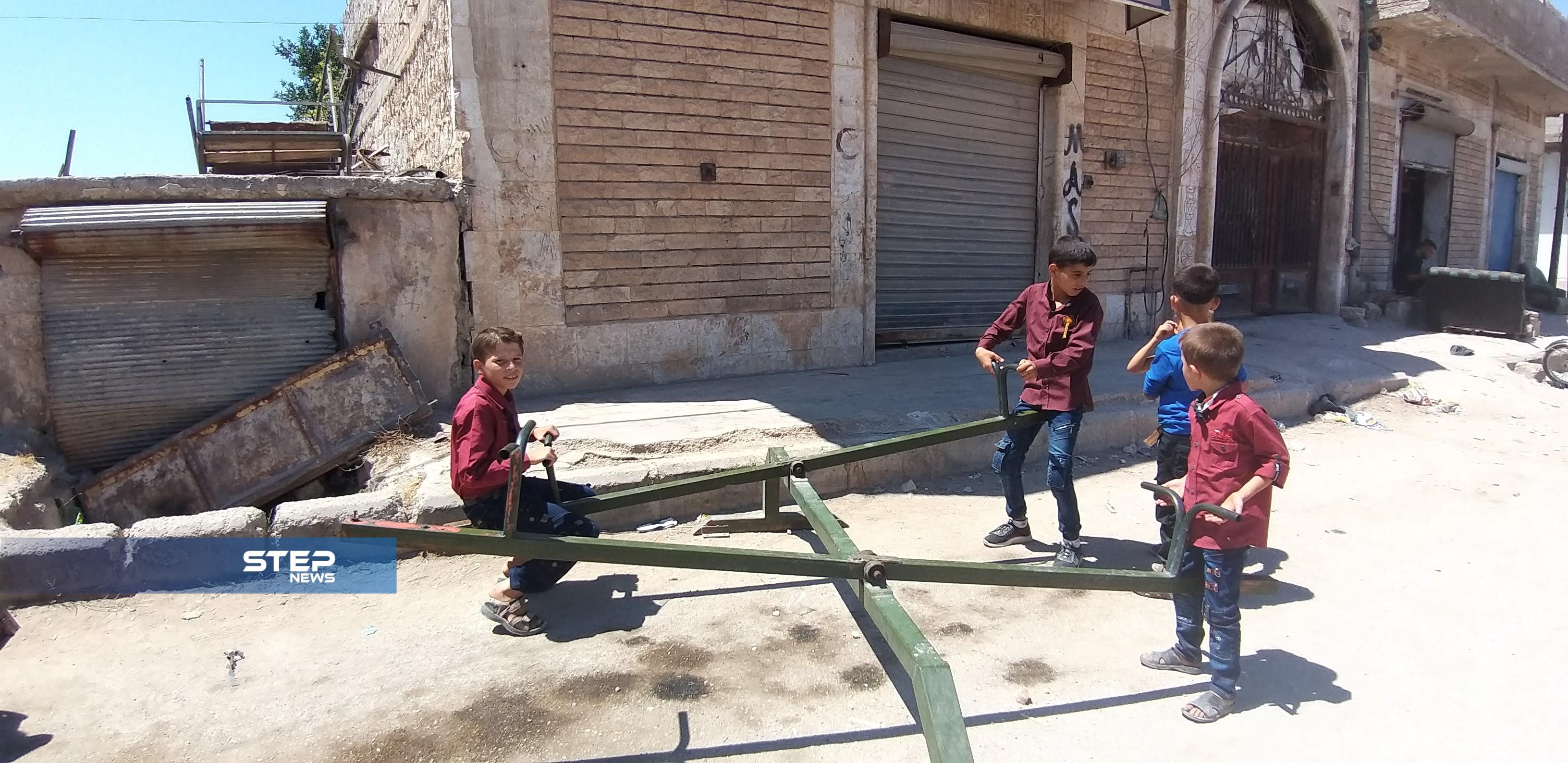 شاهد بالصور: بعض مظاهر الفرح عند الأطفال بعيد الأضحى في بلدة الجينة غرب حلب