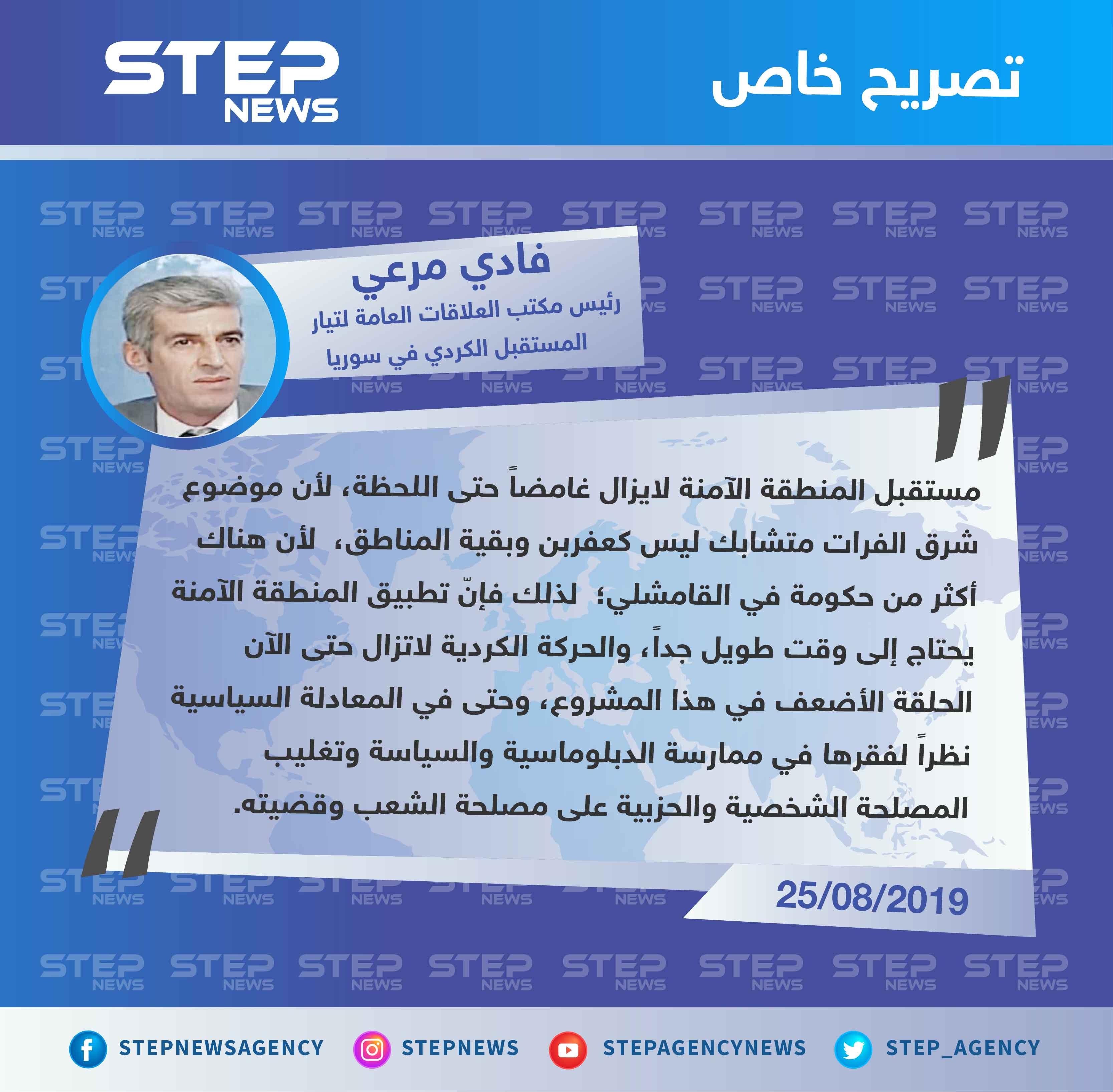رئيس مكتب العلاقات العامة لتيار المستقبل الكردي لستيب: الحركة الكردية هي الحلقة الأضعف في مشروع المنطقة الآمنة