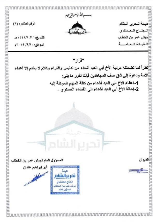 تحرير الشام تعفي أحد قياداتها من مهامه وتحيله للمحاكمة بعد كشفه الفساد بصفوفها!!