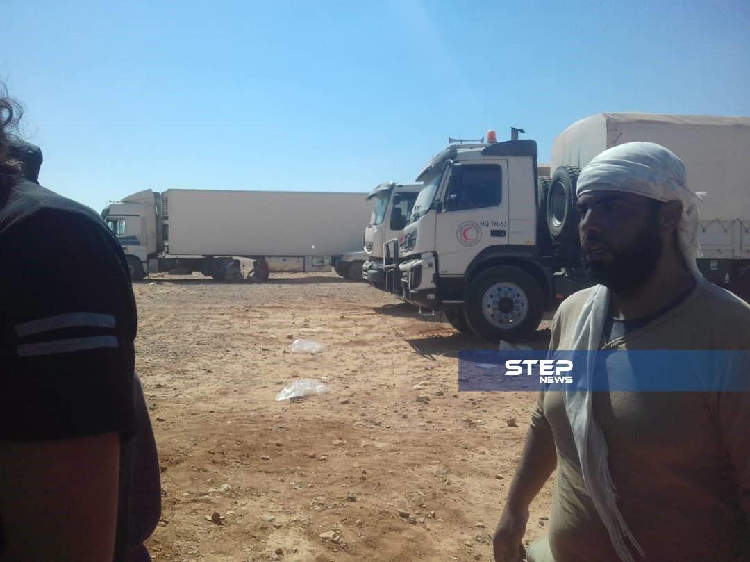 خاص|| بعد أشهر مساعدات إنسانية تصل مخيم الركبان (صور)