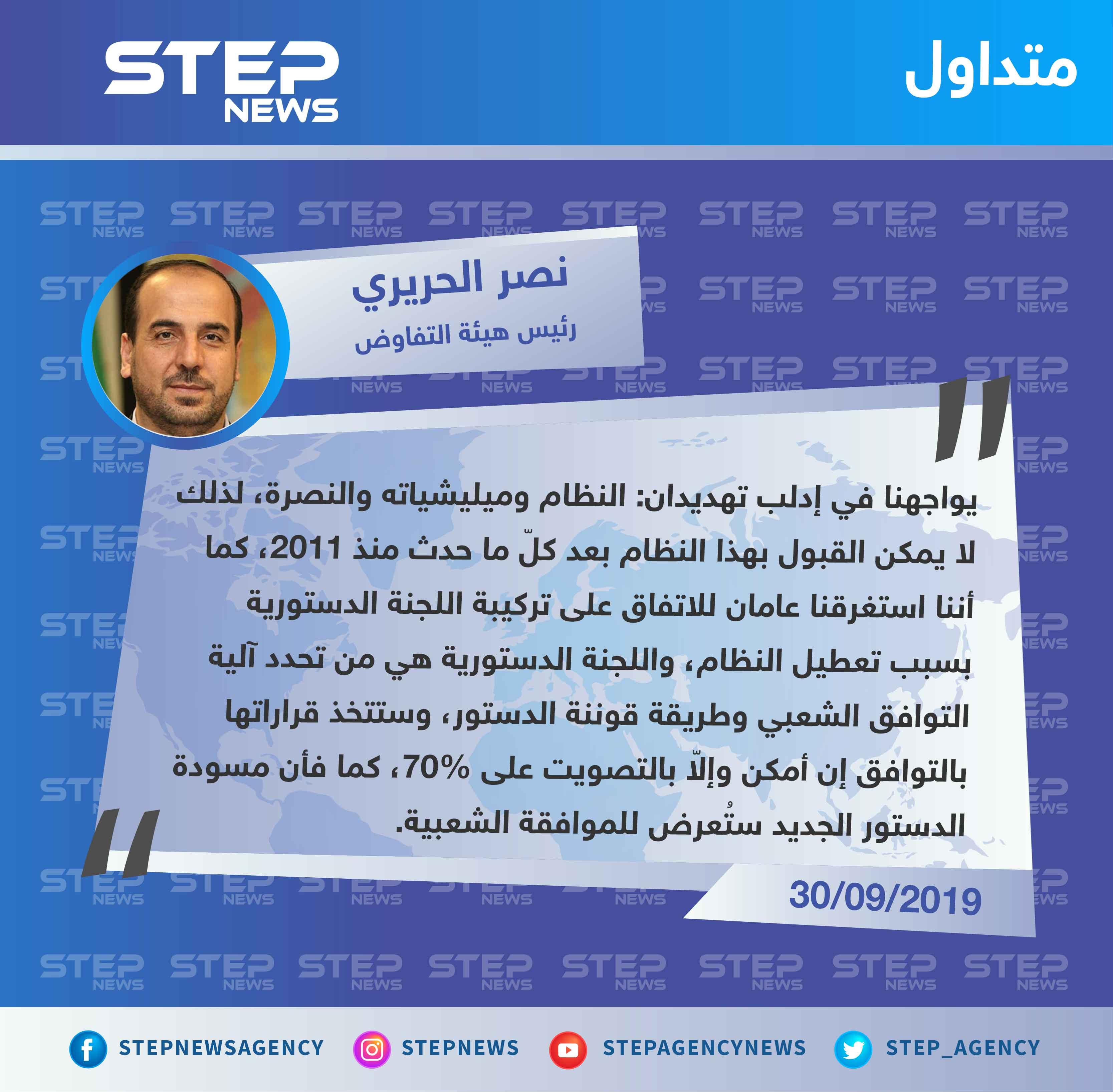 الحريري: يواجهنا في إدلب تهديدان ولا يمكن القبول بالنظام السوري