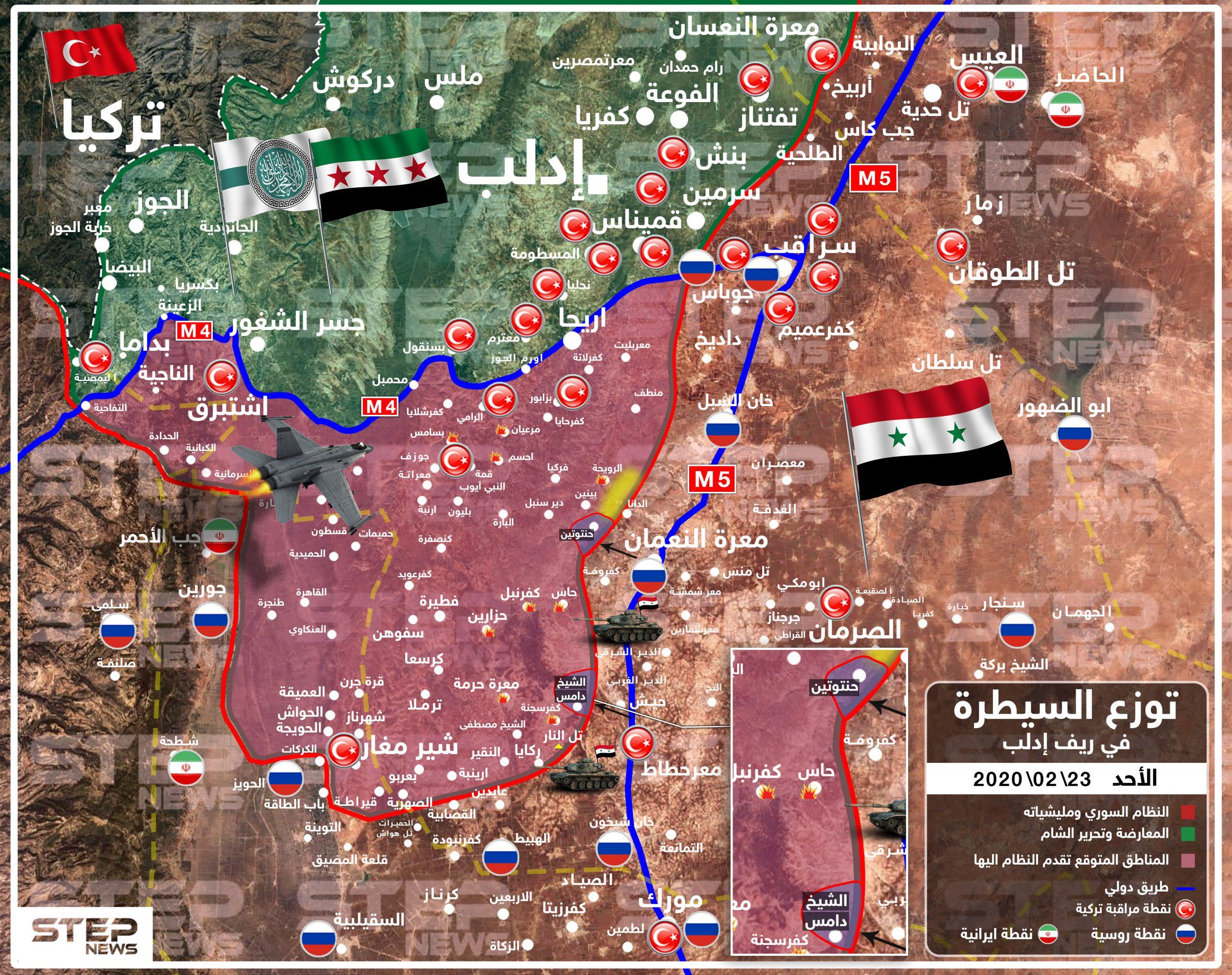خريطة لتقدم النظام السوري جنوب إدلب والمناطق التي يسعى للسيطرة عليها جنوب الطريق الدولي M4