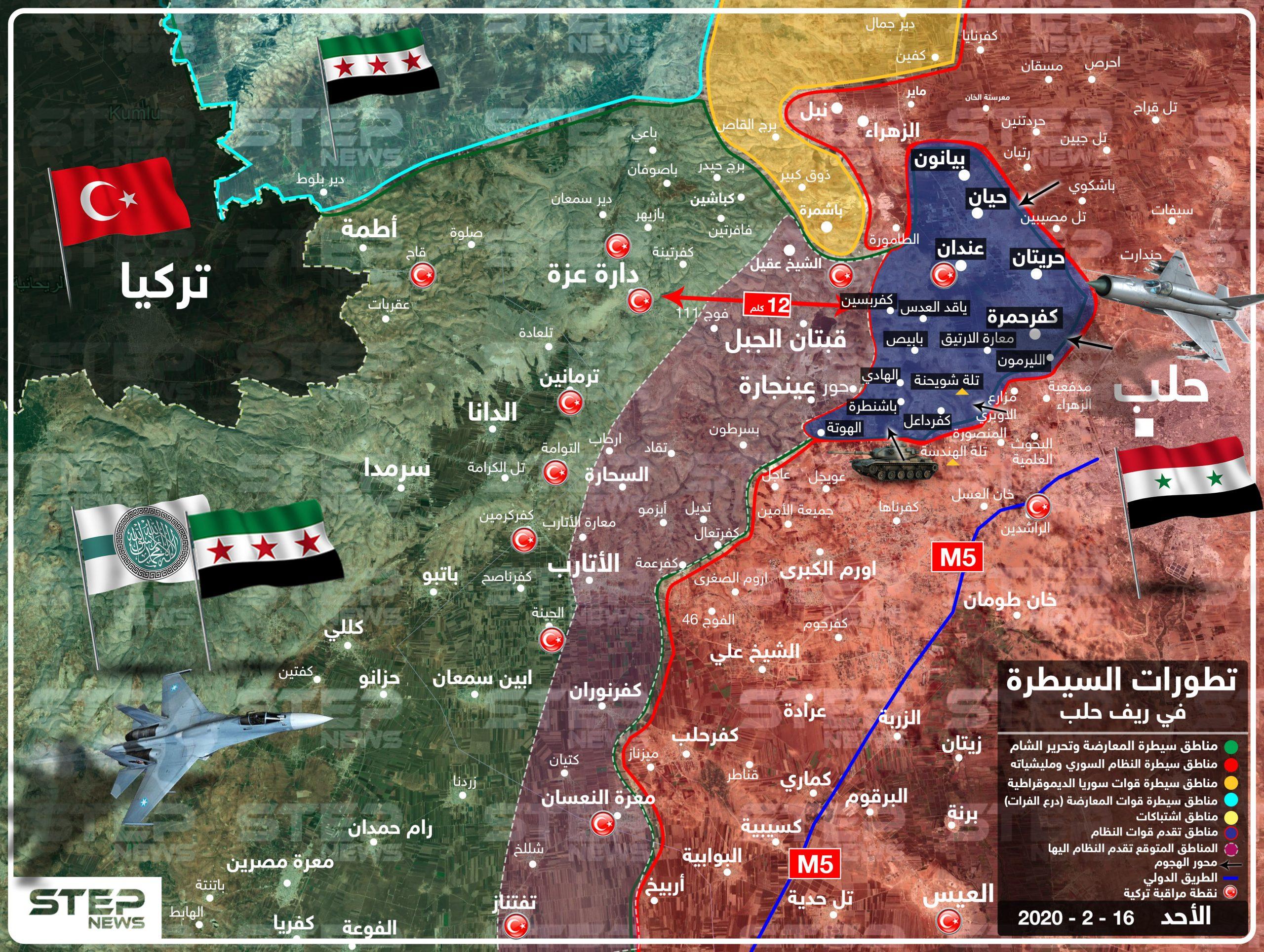 بالخريطة|| النظام السوري يُسيطر على ريف حلب الشمالي الغربي بالكامل.. وهذه هي وجهته القادمة!