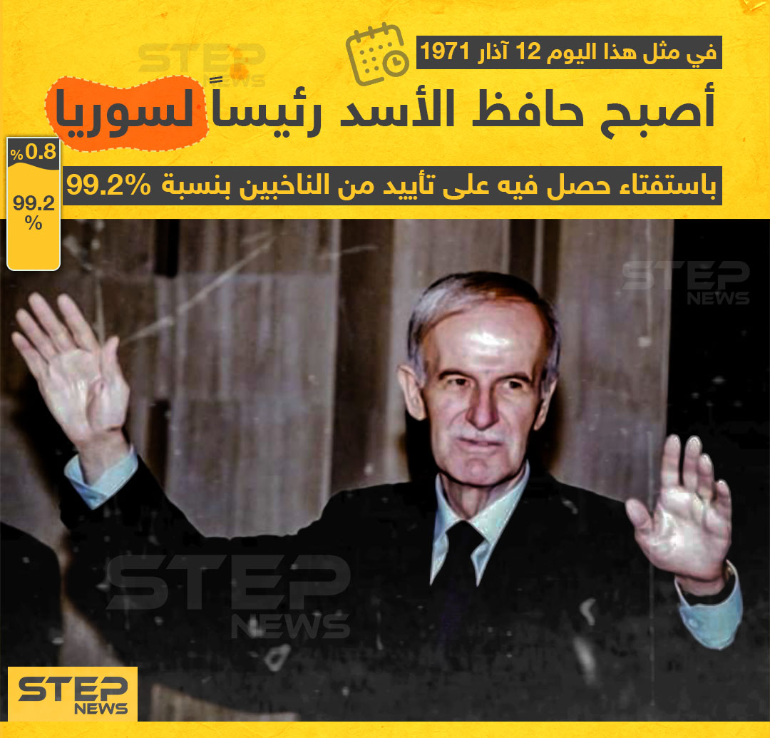 في مثل هذا اليوم أصبح حافظ الأسد رئيساً لسوريا تاركاً الحكم لابنه بشار من بعده