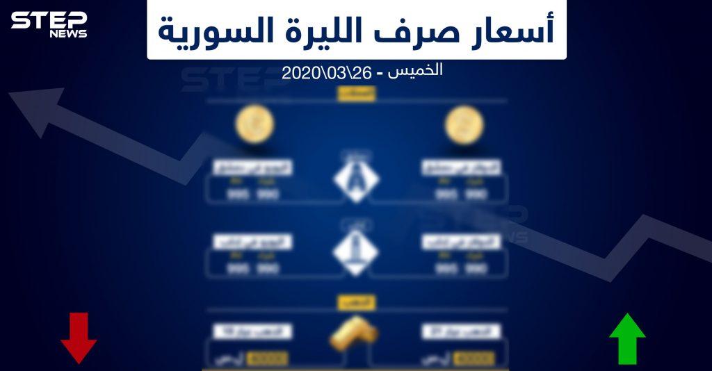 أسعار الذهب والعملات في سوريا اليوم 26-3-2020 - وكالة ستيب الإخبارية