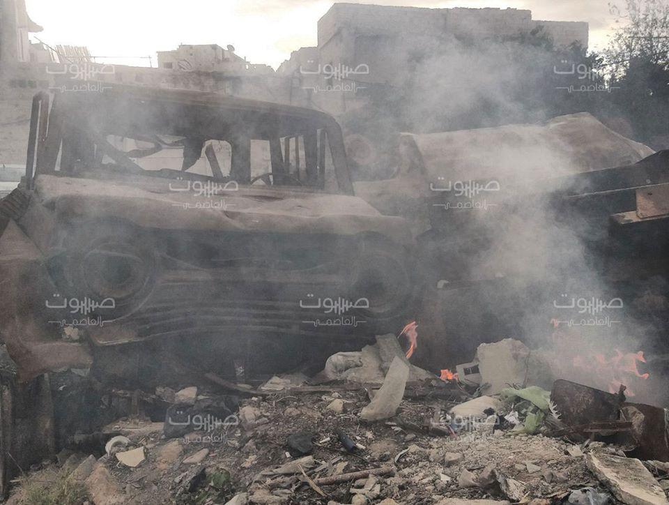 بالصور|| النظام السوري يظهر حقده في أول أيام العيد.. ويحرق مقابر المعارضة في دمشق