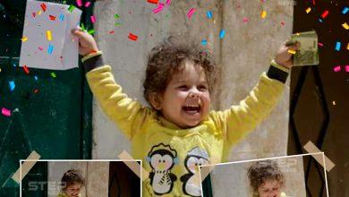 فرحة طفلة في شمال سوريا بعد حصولها على العيدية