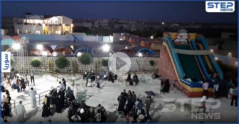 شاهد أجواء العيد في ملاهي بوابة الشمال على اتستراد باب الهوى شمال إدلب