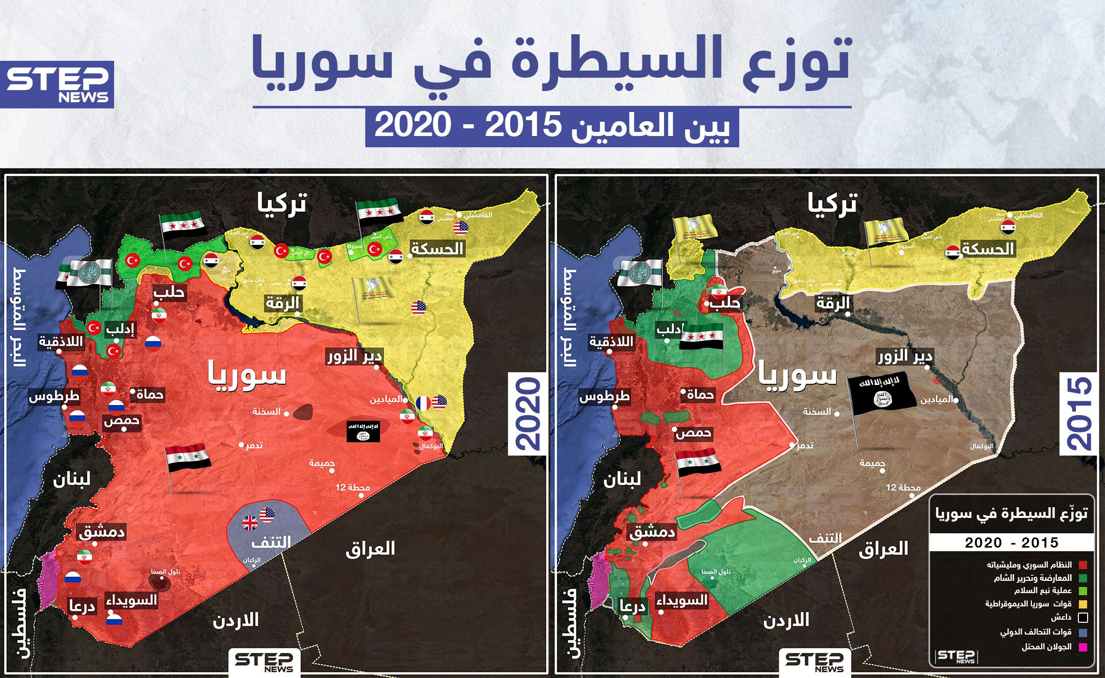 توزع السيطرة على الأراضي السورية خلال الخمسة أعوام الأخيرة