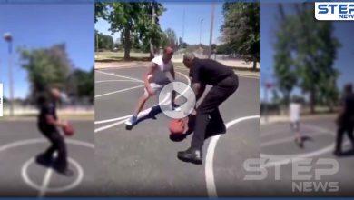 بالفيديو || أذهل الحاضرين.. مهارات عالية أظهرها شرطي بملعب لكرة السلة
