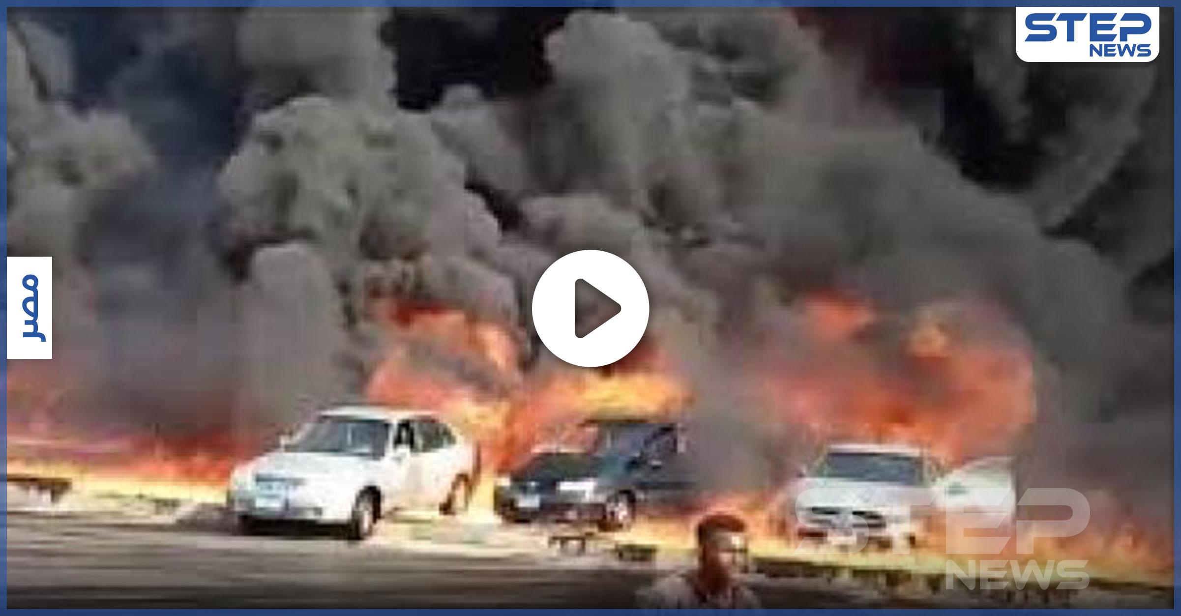 حريق ضخم يلتهم عشرات السيارات على طريق الإسماعيلية بمصر