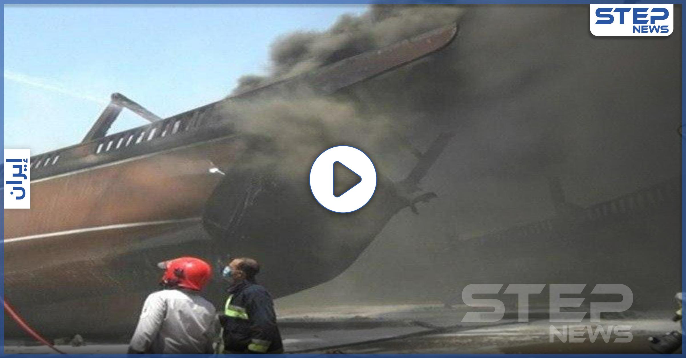 بالفيديو   حريق ضخم يلتهم سفن إيرانية في ميناء بوشهر