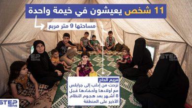 11 شخص يعيشون في خيمة واحدة مساحتها 9 متر مربع بجرابلس في ريف حلب