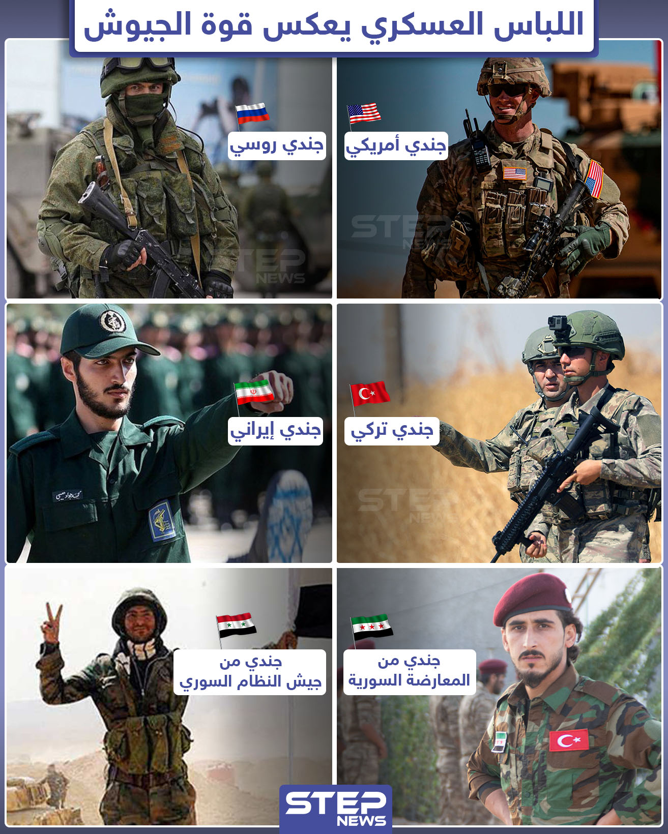 اللباس العسكري للجيوش المتواجدة في سوريا يعكس حالة كل جيش.. فما هو اللباس المُفضل لديك؟