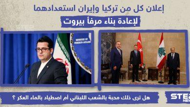 إعلان كل من تركيا وإيران استعدادهما لإعادة بناء مرفأ بيروت