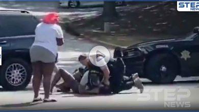 بالفيديو|| غضب بأمريكا على عنصرية السُلطات.. شرطي يضرب بعنف رجل أسود أمام صديقته وطفلها