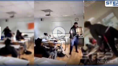 بالفيديو|| بأحد مدارس باريس الفرنسية.. فوضى وتراشق بالمقاعد الخشبية وسلال القمامة