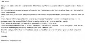رسالة المعهد الفرنسي الى حسام