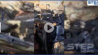 بالفيديو|| جثث متفحمة.. مسيرة للتحالف الدولي تقتل قياديين في تنظيم حراس الدين