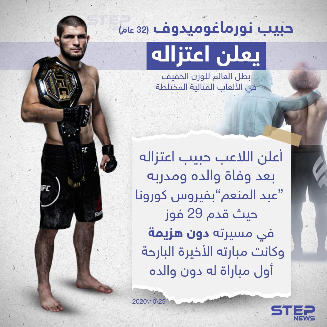 """بطل العالم للوزن الخفيف في الألعاب القتالية المختلطة """"حبيب نورماغوميدوف"""" يعلن اعتزاله"""