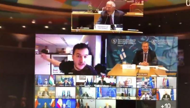 بالفيديو|| صحفي يخترق مؤتمراً سريّاً لـ وزراء الدفاع في أوروبا ويفشله