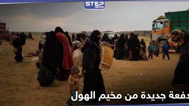 """بكفالات شيوخ ووجهاء العشائر... وصول """"105"""" عائلات إلى الرقة قادمة من مخيم الهول"""