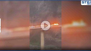 بالفيديو|| جسر معلق بالسعودية يتحول إلى كتلة نار والكشف عن السبب