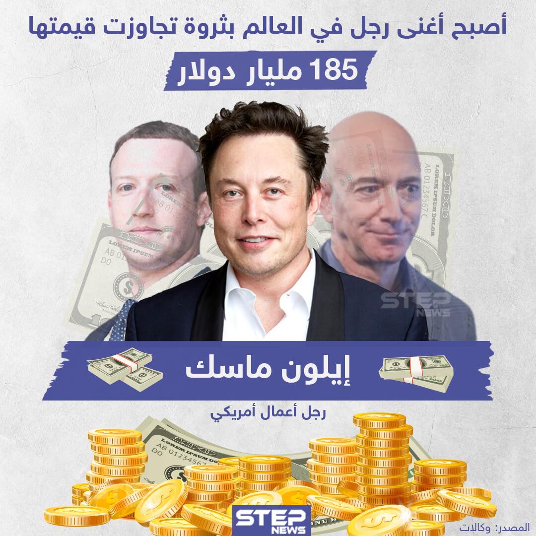 """""""إيلون ماسك"""" أغنى رجل بالعالم بعد أن تجاوزت ثروته 185مليار دولار"""