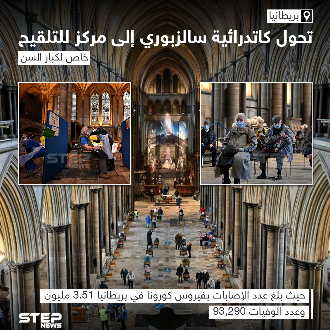 تحوّل كاتدرائية سالزبوري في بريطانيا إلى مركز تلقي لقاح كورونا للمُسنين