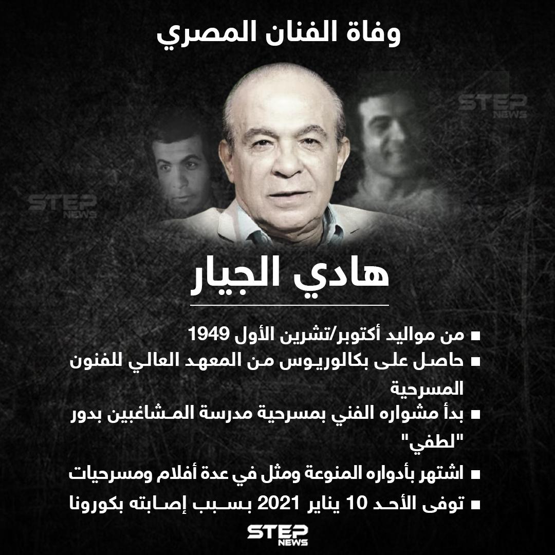 وفاة الفنان المصري هادي الجيار بسبب إصابته بفيروس كورونا