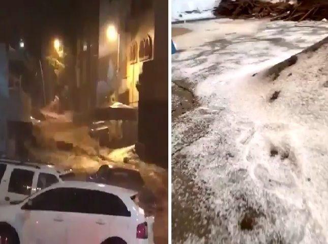 بالفيديو   حدث نادر وغير مسبوق في السعودية.. وسيول من البَرَد تقتحم شوارع مكة