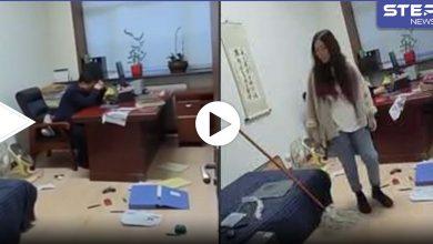 موظفة تضرب مديرها في العمل