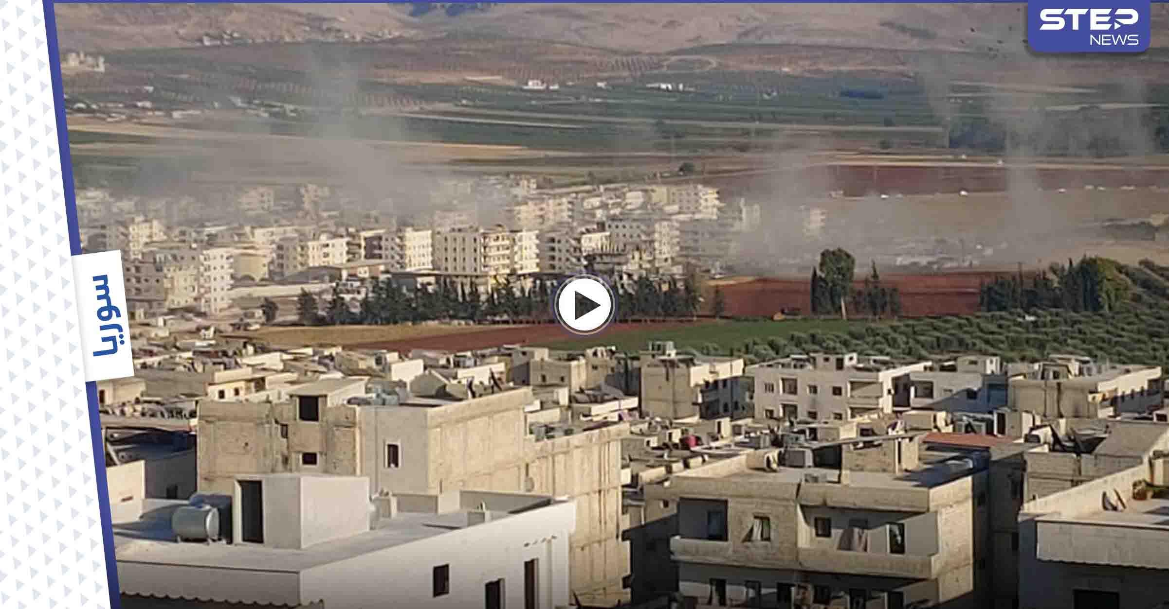 """بالفيديو    قتلى برشقاتٍ صاروخية أطلقتها قوات """"قسد"""" على مدينة عفرين والجيش التركي يرد"""