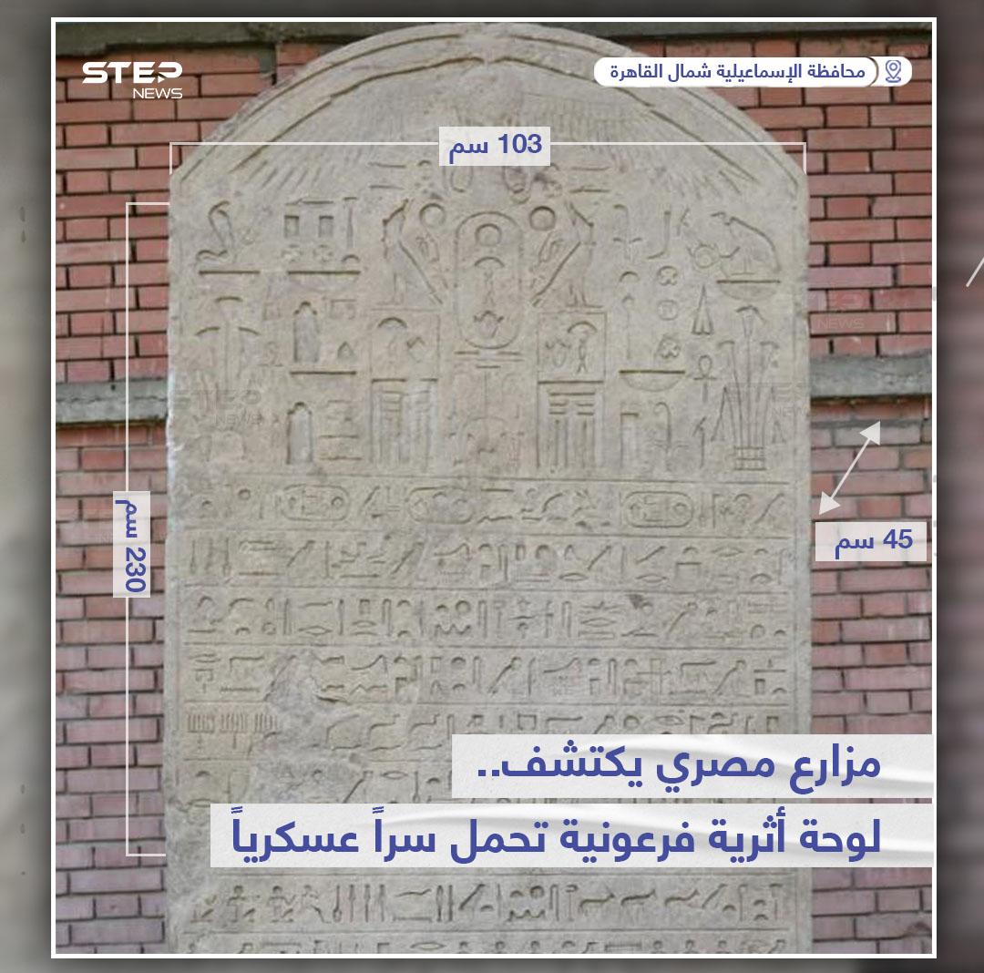 مزارع مصري يكتشف لوحة أثرية فرعونية تحمل سراً عسكرياً