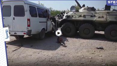 بالفيديو|| حاملة جنود مدرعة تصطدم بحافلة مدنية في روسيا تخلّف قتلى وجرحى والسلطات تطوّق المكان