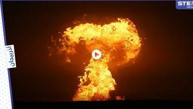 بالفيديو|| مؤسسة النفط والغاز في أذربيجان تعلن أن حريق بحر قزوين سببه ثوران بركاني