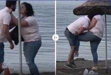بالفيديو   بالصفعات والركلات امرأة تهين رجلاً وتبرحه ضرباً على شاطئ مارماريس شاهد ردة فعله