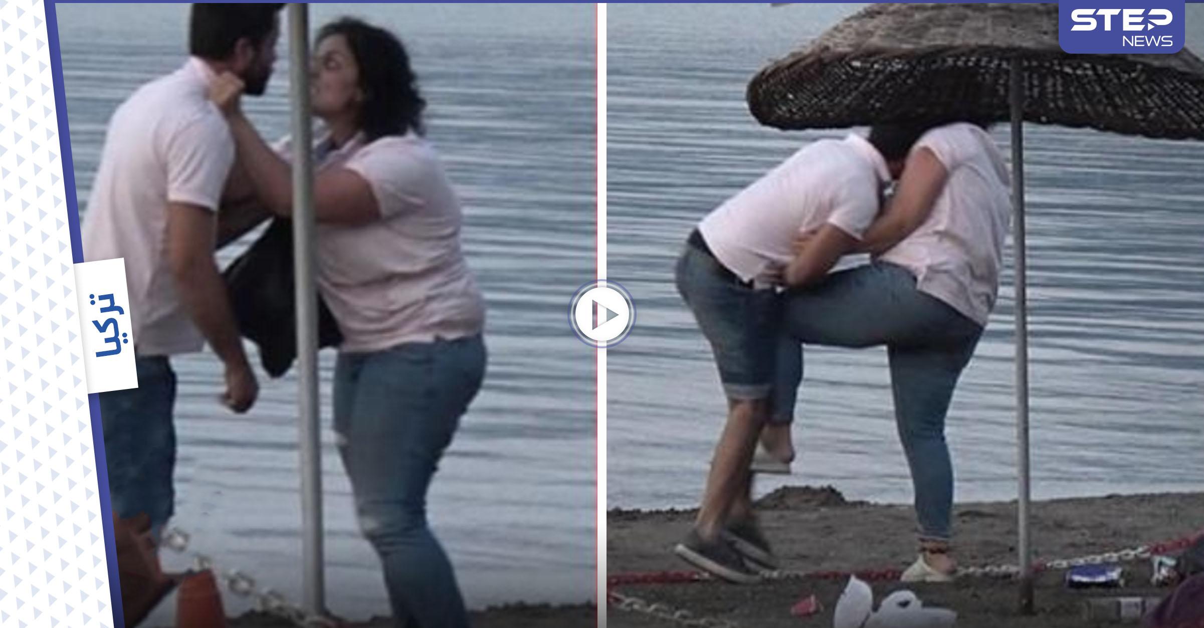 بالفيديو|| بالصفعات والركلات امرأة تهين رجلاً وتبرحه ضرباً على شاطئ مارماريس شاهد ردة فعله
