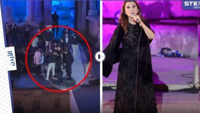 بالفيديو   شاهد كيف احتضن الموسيقيين والحرس الشخصي ماجدة الرومي لتفادي سقوطها على المسرح وهي تغني بمهرجان جرش في الأردن