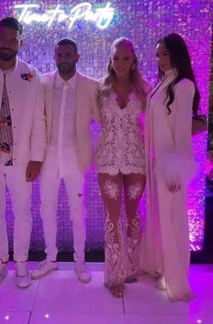بالصور|| حفل خطوبة لاعب مانشستر سيتي الجزائري رياض محرز من عارضة أزياء بريطانية مشهورة