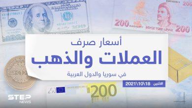 أسعار الذهب والعملات للدول العربية وتركيا اليوم الاثنين الموافق 18 تشرين الأول 2021