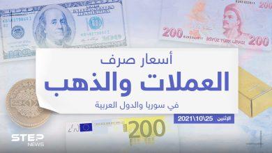 أسعار الذهب والعملات للدول العربية وتركيا اليوم الاثنين الموافق 25 تشرين الأول 2021